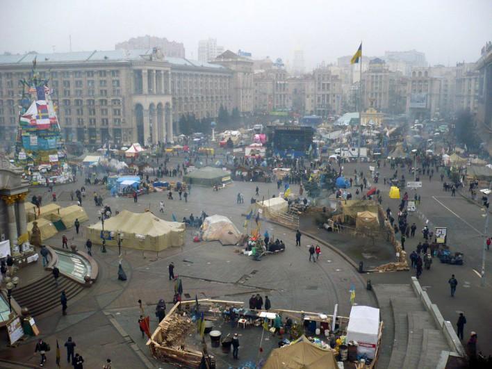Tak z tarasu przed hotelem Ukraina wygląda cały Plac Niepodległości. Fot. Dominika Grzesik